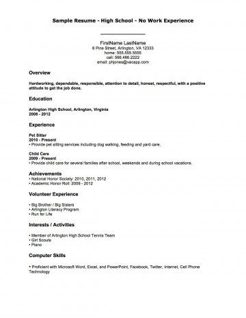 006 Teenager High School Student Resume With No Work