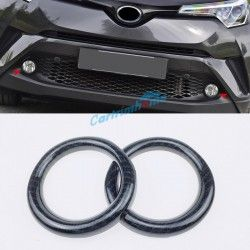 For Toyota C-HR CHR 2016-2018 2PCS Carbon Fiber Front Fog Light Lamp Cover Trim