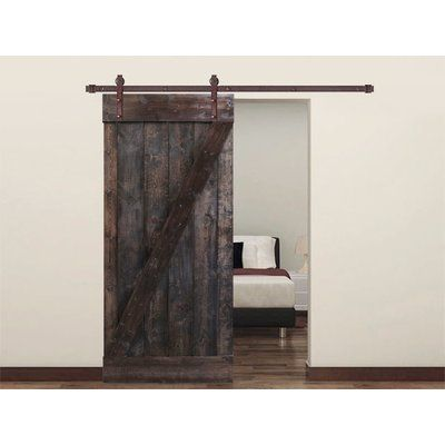 Calhome Paneled Wood Knotty Barn Door With Installation Hardware Kit Finish Dark Coffee Size 24 X 84 Barn Style Doors Glass Barn Doors Sliding Closet Doors