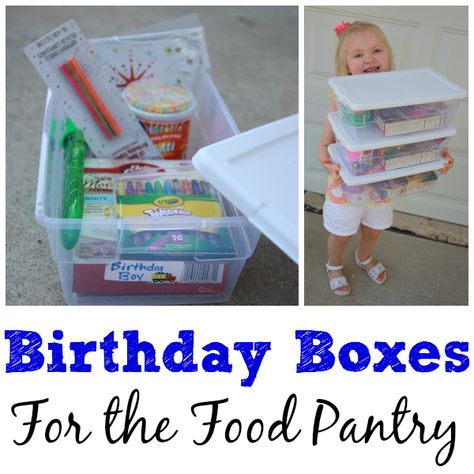 Birthday Box Ideas - I Can Teach My Child! Service Projects For Kids, Community Service Projects, Service Ideas, Daisy Girl Scouts, Girl Scout Troop, Scout Leader, Girl Scout Silver Award, Homeless Care Package, Blessing Bags
