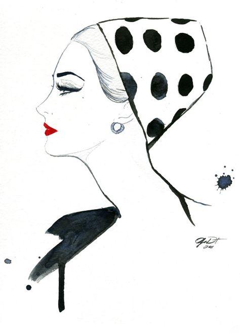 Watercolor Fashion Illustration Polka Dot By Jessicaillustration