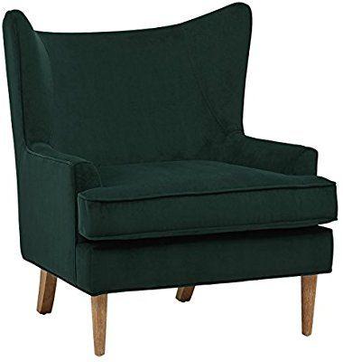 Amazon Com Rivet Chelsea Velvet Wing Back Accent Chair Green