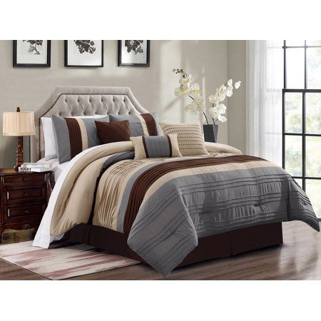 Bedding 7 Pc Liam Pleated Pintuck, Slate Blue And Gray Bedding