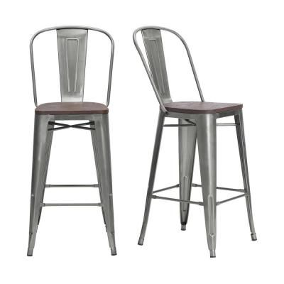 Stylewell Finwick Gunmetal Gray Metal Bar Stool With Back And Wood Seat Set Of 2 17 72 In W X 43 9 In H Grey Metal Counter Stools Metal Bar Stools Stools With Backs