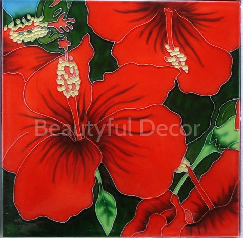 Red Hibiscus Rhfs1220 Large 12 X 12 Decorative Hand Painted Ceramic Tile 12 X 12 Painting Ceramic Tiles Tile Art