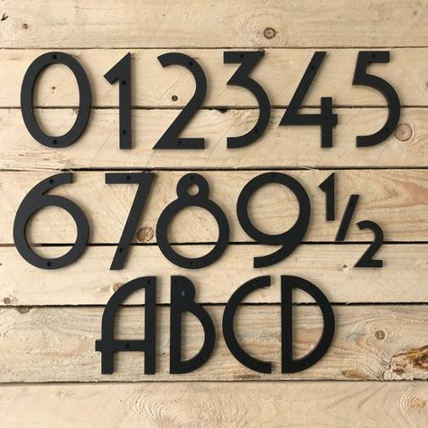 These House Numbers Are Cnc Machined From Marine Grade 1 4 Inch Thick Sheets Of Hdpe Plastic That Are Fade Resistant In Uv Light And House Numbers In 2019 Art Deco