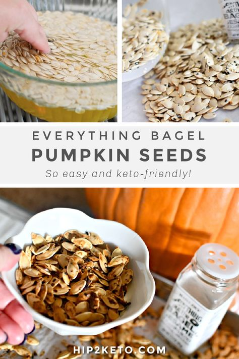 It's easy to roast pumpkin seeds at home for a delicious low-carb snack, and this Everything Bagel flavor is the BEST EVER and is oh so keto! #keto #lowcarb #pumpkinseeds #pumpkinseedrecipes #easyrecipes #ketorecipes #pumpkinrecipes #everythingbagel #everythingbutthebagel #everythingbagelseasoning #fallrecipes