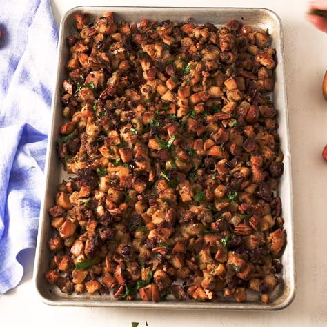Can we all agree that the best part of stuffing is that delectable top layer that gets extra buttery and crunchy? This sheet pan version is one big serving of that. Full recipe on Delish.com.