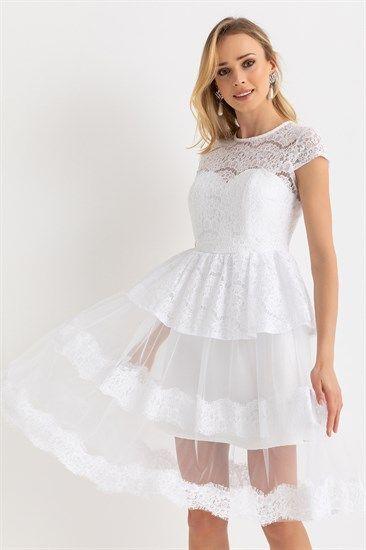 Etek Tul Kat Dantel Abiye Beyaz The Dress Elbise Modelleri Cicekli Kiz Elbiseleri