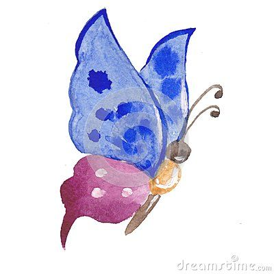 Watercolor Painting Of Fantasy Blue Purple Butterfly With White