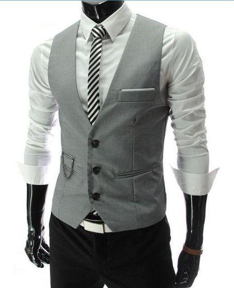 Men's Slim Fit Suit Vest - gray / XXXL