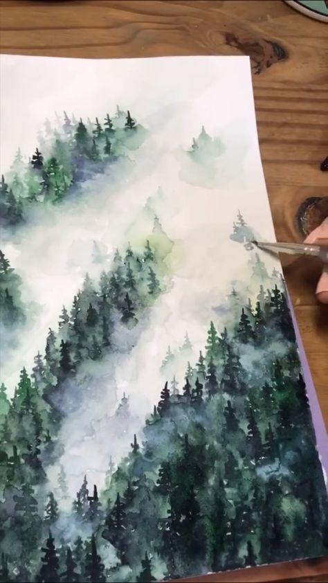 Painting a watercolor misty forest