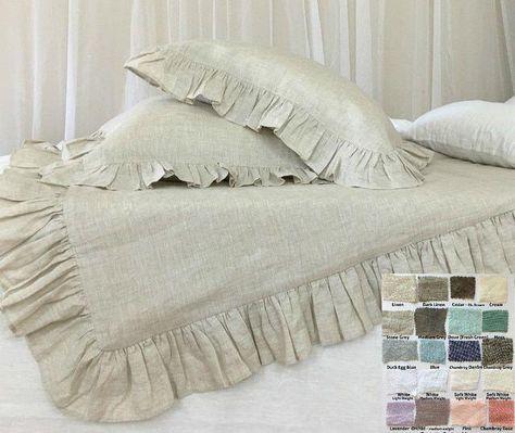 linen duvet cover with easy flow ruffles shabby chic bedding set rh pinterest ru