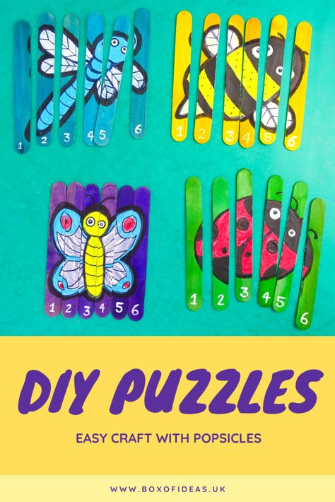 How to make your own puzzles with popsicle sticks. Summer Crafts For Kids, Crafts For Kids To Make, Craft Activities For Kids, Preschool Crafts, Arts And Crafts For Kids Toddlers, Easy Toddler Crafts, Diy Crafts For Adults, Diy Crafts For Gifts, Ladybug Crafts