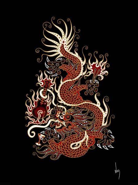 Chinese Tatouage Dragon III T-Shirt Old School Rockabilly Chinois Dragon