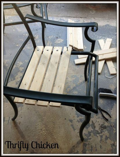 updating the ole patio chairs, outdoor furniture, painted furniture, patio, Used 1x3 for the seat bottoms and backs Used 1 4 x 2 carriage bolts and hex nuts to attach the boards to the seat frame Then poly the wood
