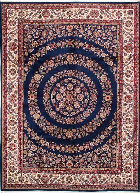 Hand Knotted Jamshidpour Dark Navy Wool Rug With Images Navy Wool Rugs Rugs Indian Rugs