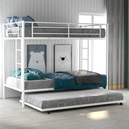 Merax Metal Twin Over Twin Bunk Bed Frame With Trundle Multiple