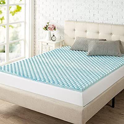 Amazon Com Zinus 1 5 Inch Swirl Gel Memory Foam Convoluted Mattress Topper Cooling Airflow Design Certi In 2020 Zinus Memory Foam Mattress Topper Adjustable Beds