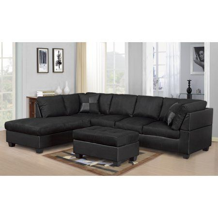 Master Furniture Sectional Sofa Modern Fabric Microfiber Faux Leather Sectional So Black Sectional Living Room Sectional Sofa With Chaise Modern Sofa Sectional