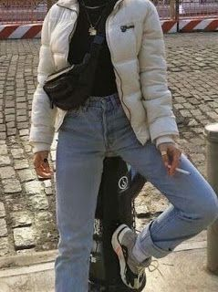 How To Style Any Puffer Jacket Oversized Cropped Puffer Jackets Day Time Puffer Jacket Outfits Black Puffer Jacket Outfits Fashion Trendy Outfits Clothes