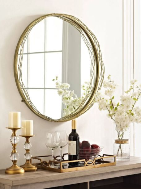 32 Round Mirror W Wire Nest Frame In Gold Walker Edison M32nstgd Round Gold Mirror Round Mirrors Mirror Dining Room
