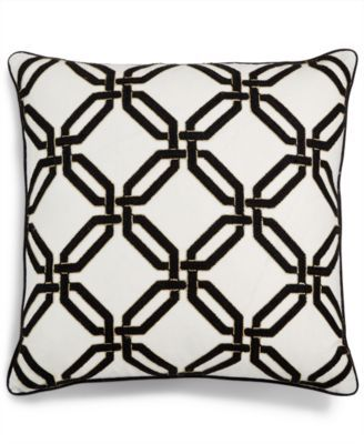 Geo 20 Square Chainstitch Embroidered Decorative Pillow Created
