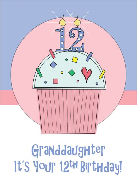 12th Birthday Granddaughter Cupcake With Sprinkles 12 Candle Card Ad Affiliate Granddaughter Birthday Cu Candle Cards 12th Birthday Birthday Cards