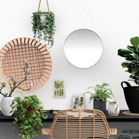 Koyal Wholesale Gold Modern Round Wall Mirror With Detachable Hanging Chain Table Mirror For Centerpiece Vanity Mirror Walmart Com Small Wall Decor Hanging Wall Mirror Gold Mirror Bathroom