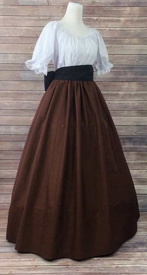 Complete Outfit-Skirt, Blouse and Sash-Brown Renaissance Civil War Victorian Southern Belle LARP Cosplay Medieval Pioneer Dress Costume 1800s Dresses, Old Dresses, Pretty Dresses, Vintage Dresses, Beautiful Dresses, Vintage Outfits, Victorian Dresses, Vintage Hats, Victorian Clothing Women