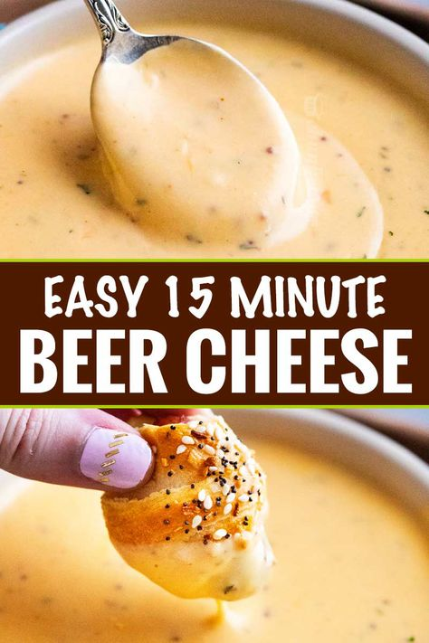 Just like the beer cheese from your favorite pub this easy beer cheese sauce is made in 15 minutes or less and PERFECT for dipping or topping your favorite foods beer cheese beercheese appetizer party dip sauce gameday easyrecipe Appetizer Dips, Yummy Appetizers, Appetizers For Party, Cheese Appetizers, Easy Party Dips, German Appetizers, Simple Appetizers, Kid Friendly Appetizers, Appetizer Dinner