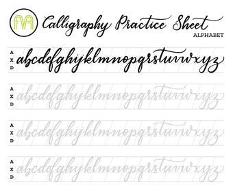 Calligraphy Practice Sheets Full Alphabet Lettering Etsy In 2020 Lettering Practice Calligraphy Practice Sheets Free Copperplate Calligraphy