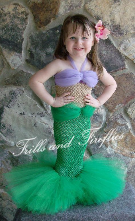Little Mermaid Tutu Costume Set w/Flower Hair Clip, Tail is available in Green or Turquoise  NOTE: Child can walk in this with smaller steps...