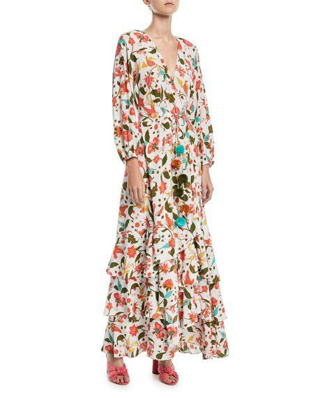 Figue Frederica Paradise Batik Print Long Wrap Dress | Batik