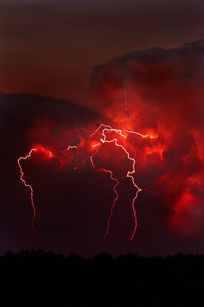 Lightning in Red Sky Red Lightning, Lightning Strikes, Lightning Storms, Aesthetic Colors, Aesthetic Pictures, Aesthetic Dark, Red Aesthetic Grunge, Aesthetic Drawings, Night Aesthetic