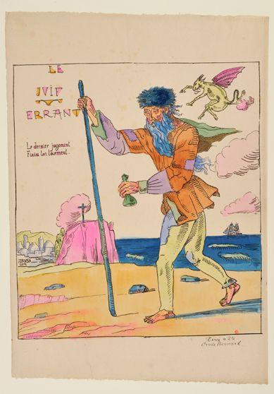 Émile Bernard, Le Juif errant, 1897, lithographie aquarellée.
