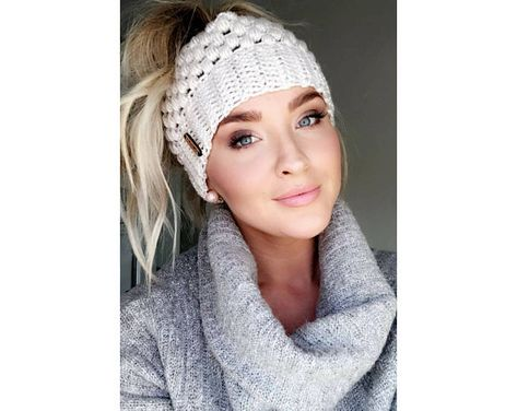 Messy Bun Beanie Crochet Messy Bun Beanie Top Knot Beanie Bun Hat Crochet Bun Hat Ponytail - messy hairstyles with hat messy hairstyles up dos