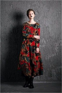 Paisley Linen Dress - Red Blue Colorful Loose-Fitting Long-Sleeved Maxi Long Casual Comfortable Plus Size Woman's House Dress