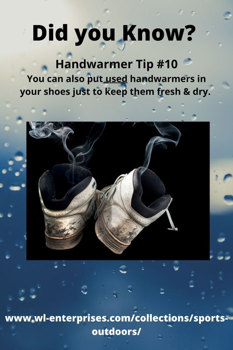 To keep shoes fresh & dry put USED handwarmers inside to soak up moisture and odors. #handwarmers #warmth #shoeodor #tipoftheday #tips #dryshoes #smellyshoes #stinkyshoes #sweatyfeetproblem #freshsmellingshoes #bodywarmers #winterweather #outdoorlife #outdooractivies #winteractivities