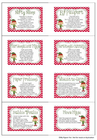 mypigeonpair~ Rhyming Clue Cards for your Elf On The Shelf - free passport template for kids