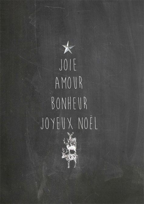 MOTS DU TEMPS DES FÊTES | Si vous avez un tableau dans votre cuisine ou dans votre salon, former un sapin avec ces mots: joie, amour, bonheur, joyeux noël