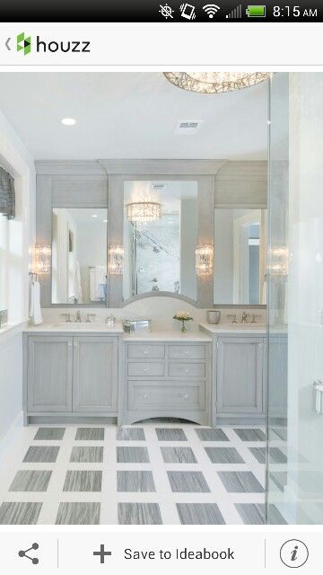 light grey and white bathroom. Stepped out center mirror  Cromer Master HC Pinterest Floors Too busy and Kid bathrooms
