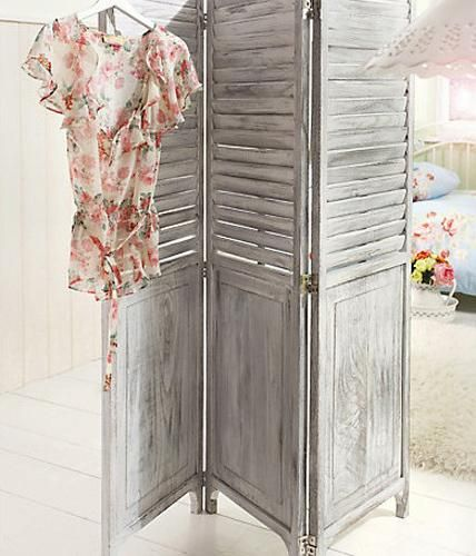Raumteiler Lamellen paravent holz vintage dekoration ideen