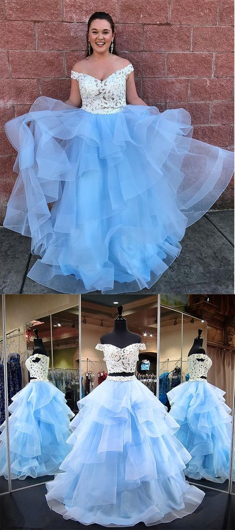 Off Shoulder Prom Dress,White And Blue Prom Gown,Long Prom