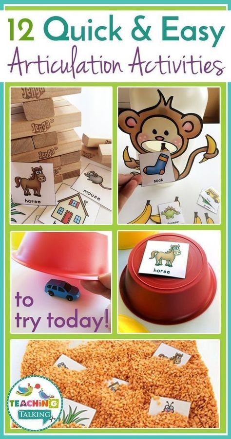 Quick & Easy Articulation Activities for Speech Therapists Low-prep/no-prep articulation activities for kids! Find 12 quick & easy game ideas you can use with your students in speech therapy today! Preschool Speech Therapy, Speech Language Therapy, Speech Therapy Activities, Speech And Language, Activities For Kids, Toddler Speech Activities, Preschool Songs, Preschool Language Activities, Apraxia
