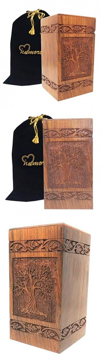 Memorials4u Solid Rosewood Cremation Urn with Hand-Carved Real Tree Design for Human Ashes Affordable Urn for Ashes Wood Urn Adult Funeral Urn Handcrafted and Engraved Cross with Twings