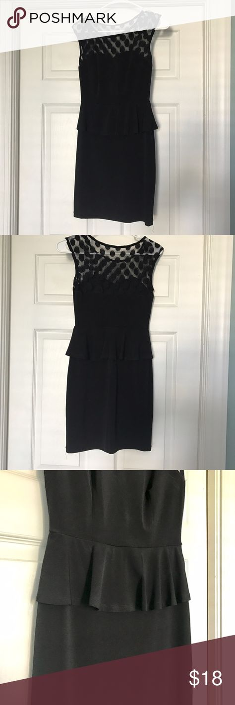 Women's Black Peplum Dress Form-fitting dress • Sweet heart cut, that blends into mesh lining • Black • Size S • Only worn twice for a few hours for wedding events. Dresses Mini