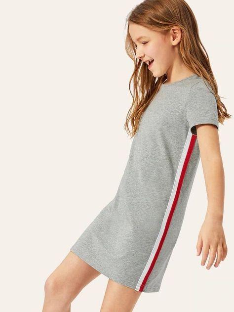 Girls Stripe Tape Heather Gray Dress – gagokid