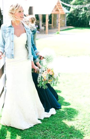 Rustic Casual Chic Summer Wedding Dress Idea Fitted Lace Fit And Flare Wedding Dress With Strapless In 2020 Denim Wedding Farm Wedding Dresses Denim Wedding Dresses