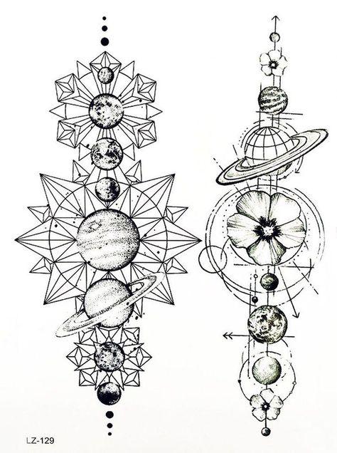 Cool Unique Black Moon Phases Temporary Tattoo Art Design Ideas Women's Teens Girls - www.MyBodiArt.com #tattoos #womentattoosleeve